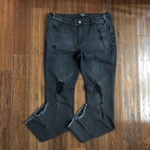 Lucky & Blessed Distressed Black Jeans